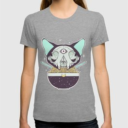 Cat Skull Ramen Noodles Anime Artwork T-Shirt