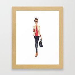 Brunette coffee Framed Art Print