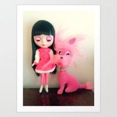 sakura and her pink dog Art Print