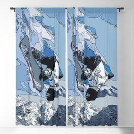 Ski over avalanche//snow mountain//Mountain Ski Landscape Blue and White sketch Vibes Blackout Curtain