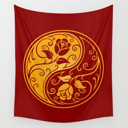 Yellow and Red Yin Yang Roses Wall Tapestry