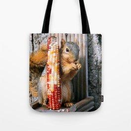 Indian Corn Squirrel Tote Bag