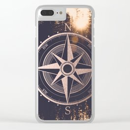 Rose Gold Compass Forest Clear iPhone Case