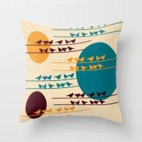 birdy Throw Pillows featuring birdy by BruxaMagica
