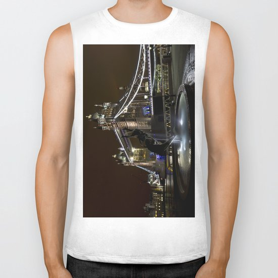 Girl and dolphin and Tower Bridge Biker Tank