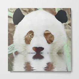 Panda Reflection Metal Print