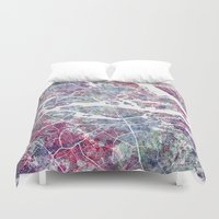 stockholm Duvet Covers featuring STOCKHOLM #2 by MapMapMaps.Watercolors