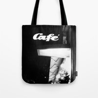 cafe Tote Bags featuring Cafe  by Julia Aufschnaiter