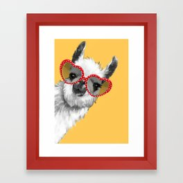 Fashion Hipster Llama with Glasses Framed Art Print