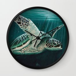 """Moonlit"" by Amber Marine - Sea Turtle, Acrylic Painting, (Copyright 2015) Wall Clock"