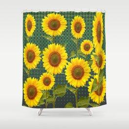 MODERN OPTICAL ART SUNFLOWER FIELD Shower Curtain