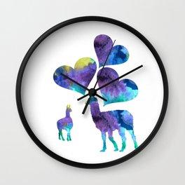 llama art Wall Clock
