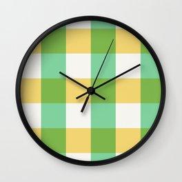 mint yellow plaid Wall Clock