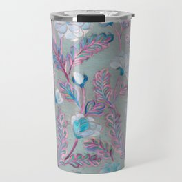 Soft Smudgy Blue and Purple Floral Pattern Travel Mug