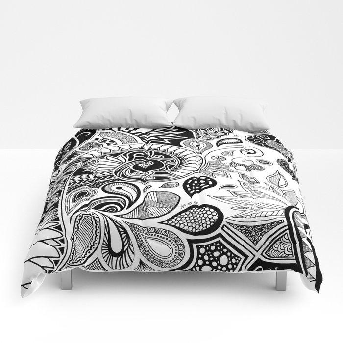 Doodle flowers Comforters