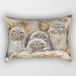 Little Owls Family - Wild Owlets Portrait Rectangular Pillow