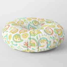 Hedgehog Paisley_Green outline Floor Pillow