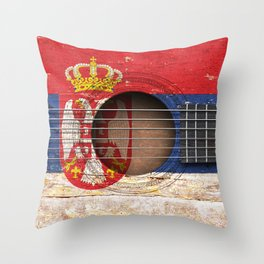 Old Vintage Acoustic Guitar with Serbian Flag Throw Pillow