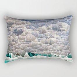 Quilted Blue Aqua Teal Abstract Design Rectangular Pillow