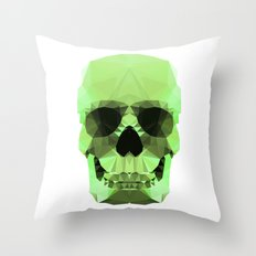 Polygon Heroes - Emerald Skull Throw Pillow