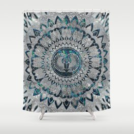 Egyptian Scarab Beetle Silver and Abalone Shower Curtain