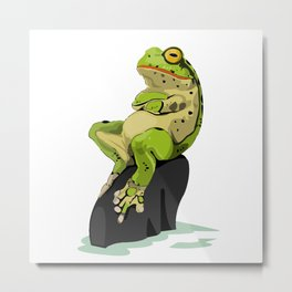 Relaxing Frog Metal Print