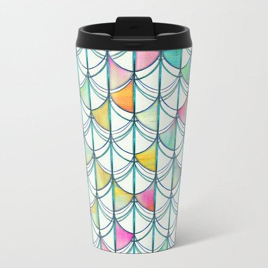 Pencil & Paint Fish Scale Cutout Pattern - white, teal, yellow & pink Metal Travel Mug