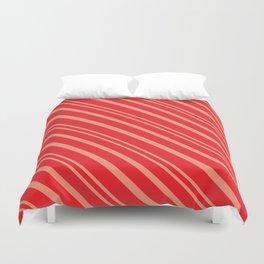 Modern Red & Gold Stripey Pattern Duvet Cover