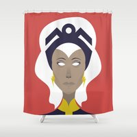 x men Shower Curtains featuring Storm X-Men Portrait by Craig Anthony Design