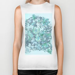 "Alphonse Mucha ""Printed textile design with hollyhocks in foreground"" (edited blue) Biker Tank"