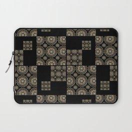 Large Rose-Gold and Black Floral Mandala Textile Piece Laptop Sleeve
