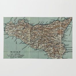 Vintage Map of Sicily Italy (1911) Rug