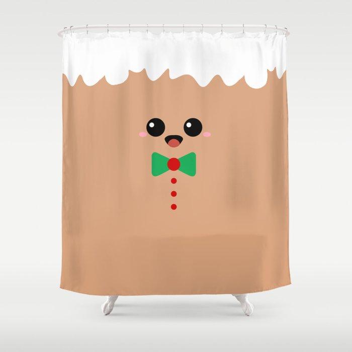 Cute Gingerbread Face Shower Curtain