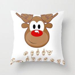 ASL Sign Language Deaf Christmas Reindeer Throw Pillow