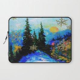 Blue Snowy Mountain Scenic Landscape Laptop Sleeve