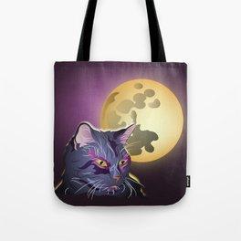 Dark Cat and Full Moon Tote Bag