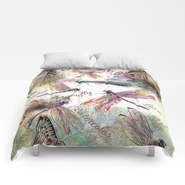Boho Watercolor Dragonflies Comforters