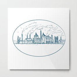 Industrial Revolution Landscape Drawing Metal Print