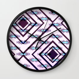 Ultraviolet ethnic pattern Wall Clock