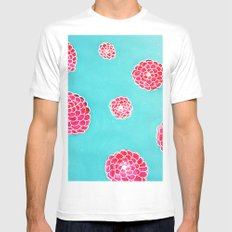 Pink flowers in blue MEDIUM Mens Fitted Tee White