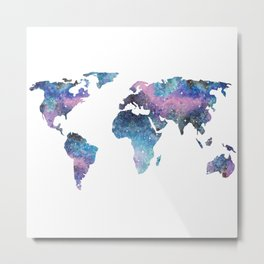 Galaxy World Map Metal Print