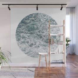Frothy Blue Ocean Sea Waves Pacific Water Pinhole Circle Geometric Photography Art Mural Northwest Wall Mural