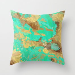 Paint the World Gold Abstract Throw Pillow