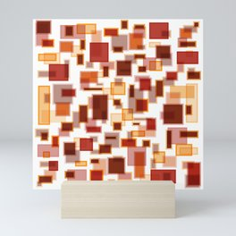 Red Abstract Rectangles Mini Art Print
