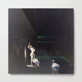 'Leda' female form with swans at waterfall and emerald ocean by Boleslaw Biegas Metal Print