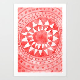 Red Tribal Triangle Circle Art Print