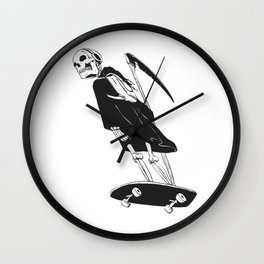 Grim reaper skater - funny skeleton - gothic monster - black and white Wall Clock