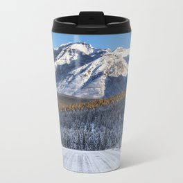 Winter Wonderland - Road in the Canadian Rockies Metal Travel Mug