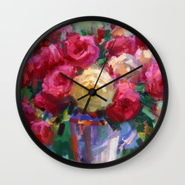 Red and Yellow Roses Wall Clock