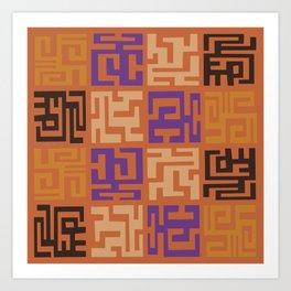 African Tribal Pattern No. 45 Art Print